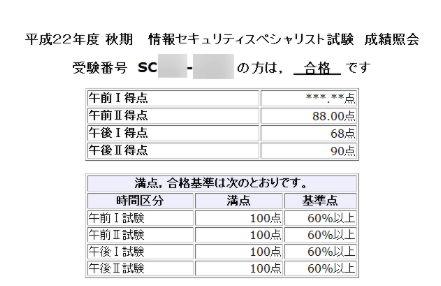 10秋情報セキュリティスペシャリスト試験 成績照会